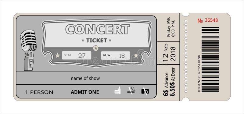 Bileta koncertowy zaproszenie przedstawienie, talon, bilet przepustka wstępu wejścia wejście ilustracja wektor