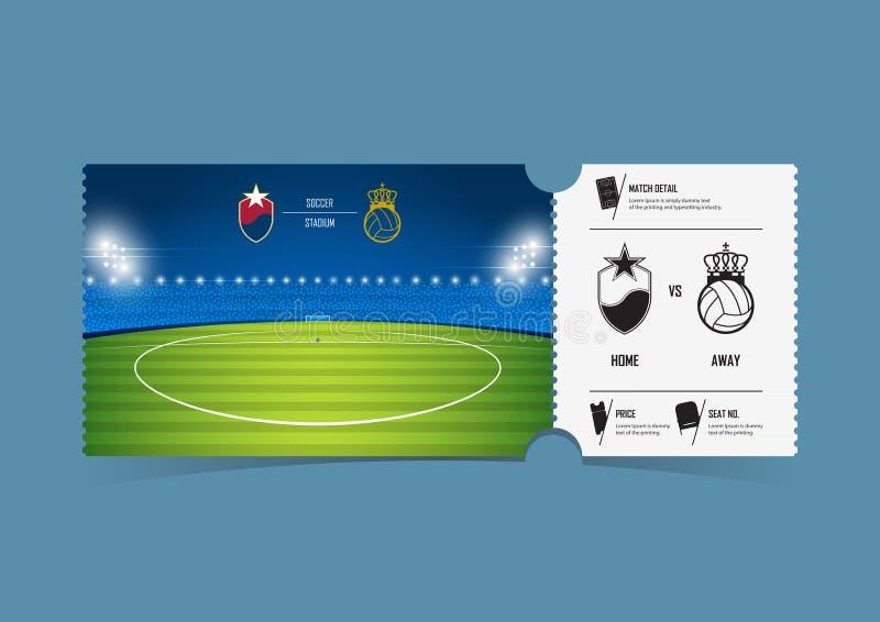 Bileta szablonu projekt dla futbolu lub meczu piłkarskiego Prezentów alegaty lub świadectwo talony wektor ilustracja wektor