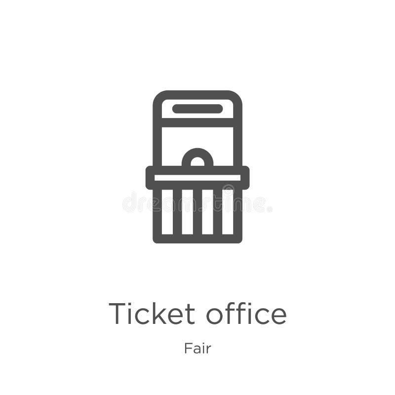 biletowego biura ikony wektor od uczciwej kolekcji Cienka kreskowa biletowego biura konturu ikony wektoru ilustracja Kontur, cien royalty ilustracja