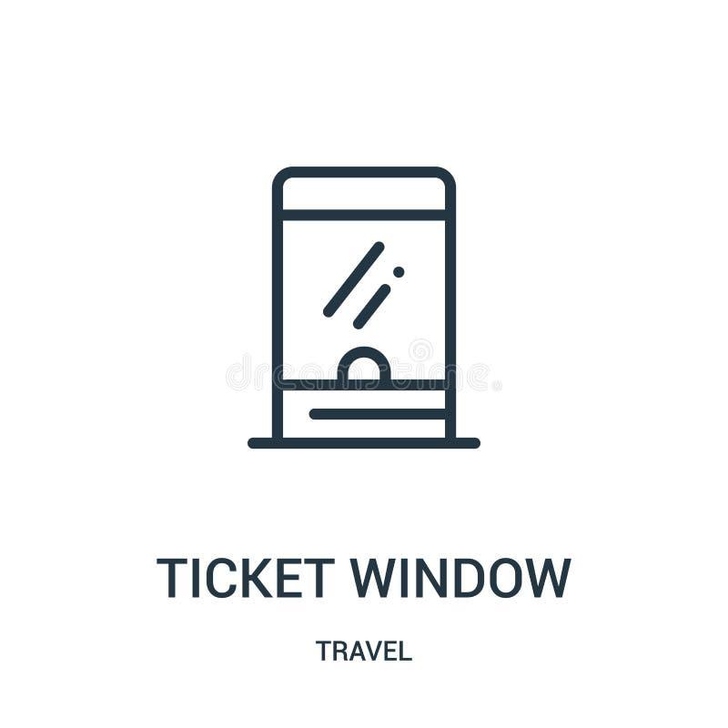 biletowego okno ikony wektor od podróży kolekcji Cienka kreskowa biletowego okno konturu ikony wektoru ilustracja Liniowy symbol  ilustracji