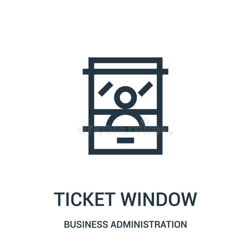 biletowego okno ikony wektor od zarządzanie przedsiębiorstwem kolekcji Cienka kreskowa biletowego okno konturu ikony wektoru ilus ilustracja wektor
