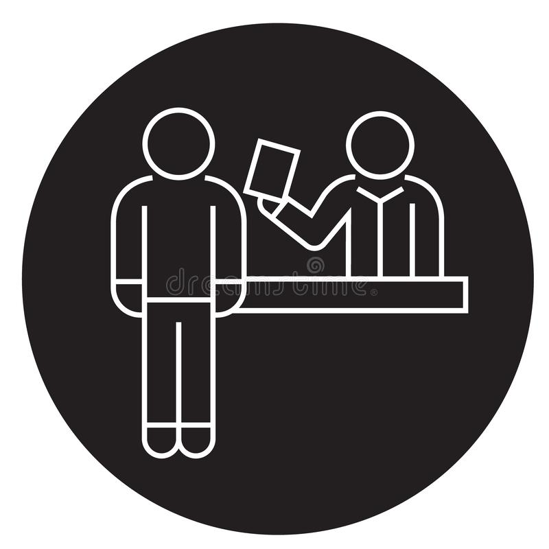 Biletowego rezerwacji biura czerni pojęcia wektorowa ikona Biletowa rezerwacji biura płaska ilustracja, znak ilustracji
