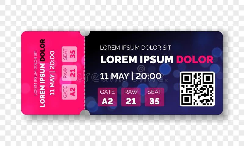Biletowego szablonu nowożytny modny projekt Wektor przyznaje bilet z wydarzenie datą i surowym siedzeniem dla kinowego filmu, muz royalty ilustracja
