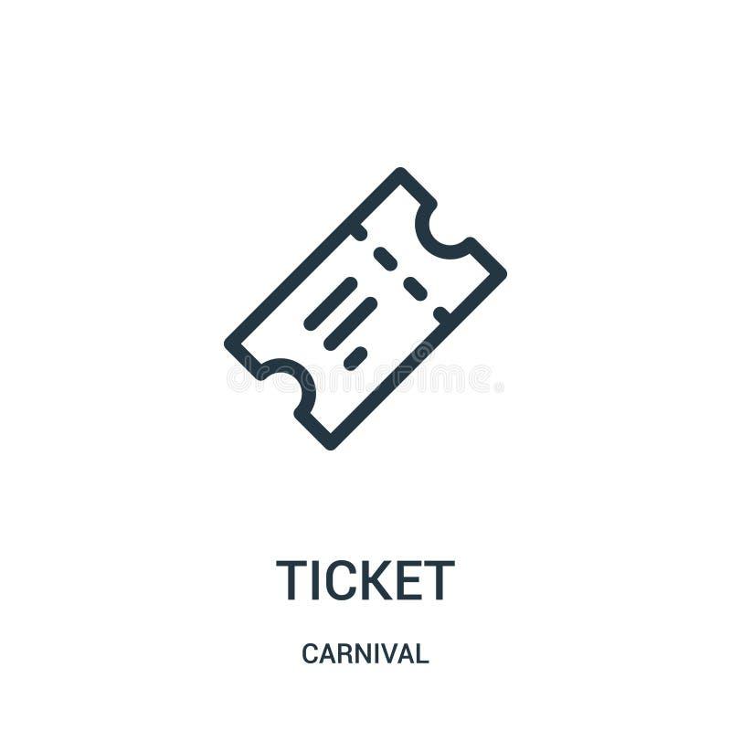 biletowy ikona wektor od karnawałowej kolekcji Cienka kreskowa biletowa kontur ikony wektoru ilustracja royalty ilustracja