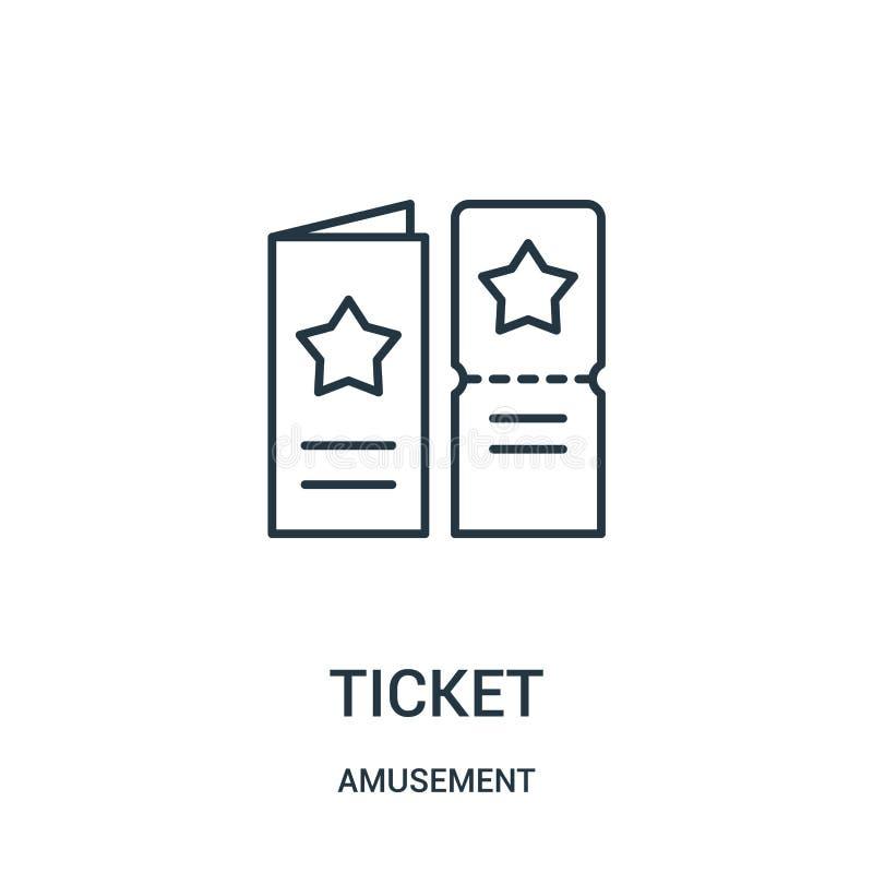 biletowy ikona wektor od rozrywkowej kolekcji Cienka kreskowa biletowa kontur ikony wektoru ilustracja ilustracji
