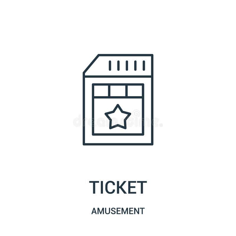 biletowy ikona wektor od rozrywkowej kolekcji Cienka kreskowa biletowa kontur ikony wektoru ilustracja royalty ilustracja