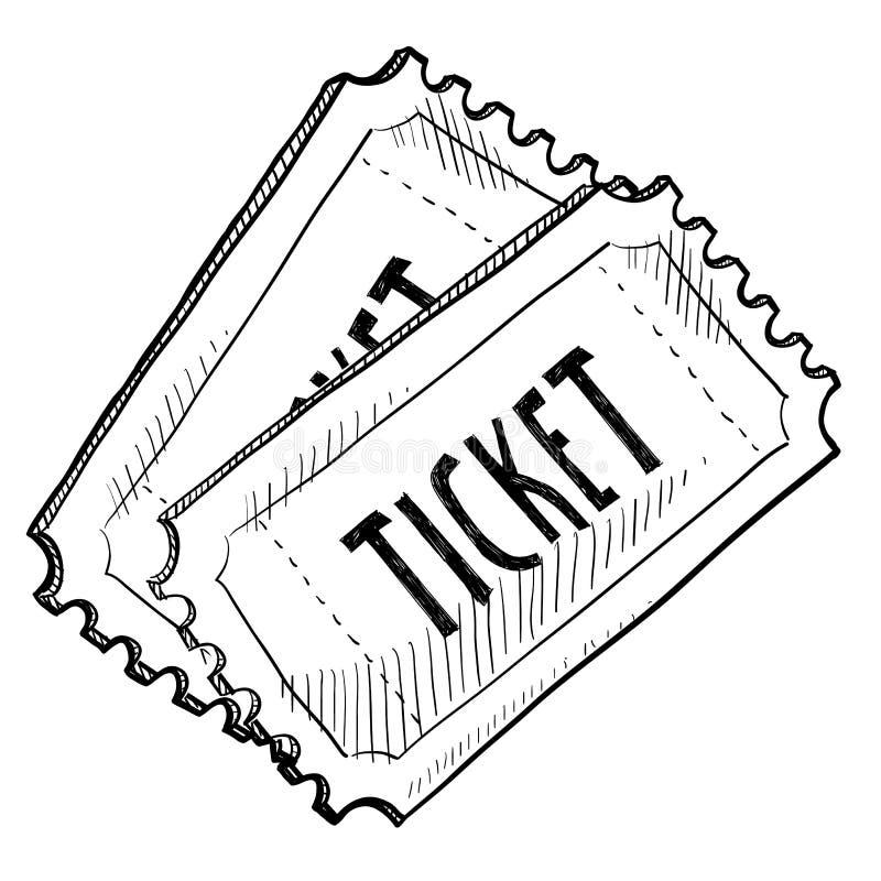 Biletowy koncerta lub wydarzenia rysunek royalty ilustracja