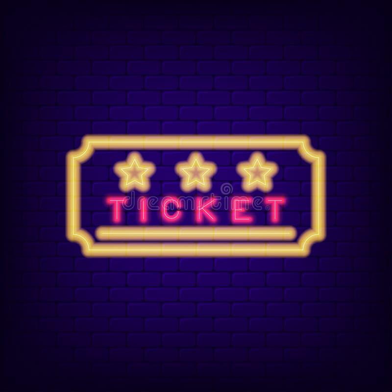 Biletowy neonowy znak Noc lekki wejściowy talon wektor ilustracji