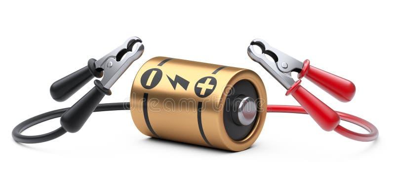 Bilförklädekablar för guld- batteri för laddning Strömförsörjningbegrepp stock illustrationer