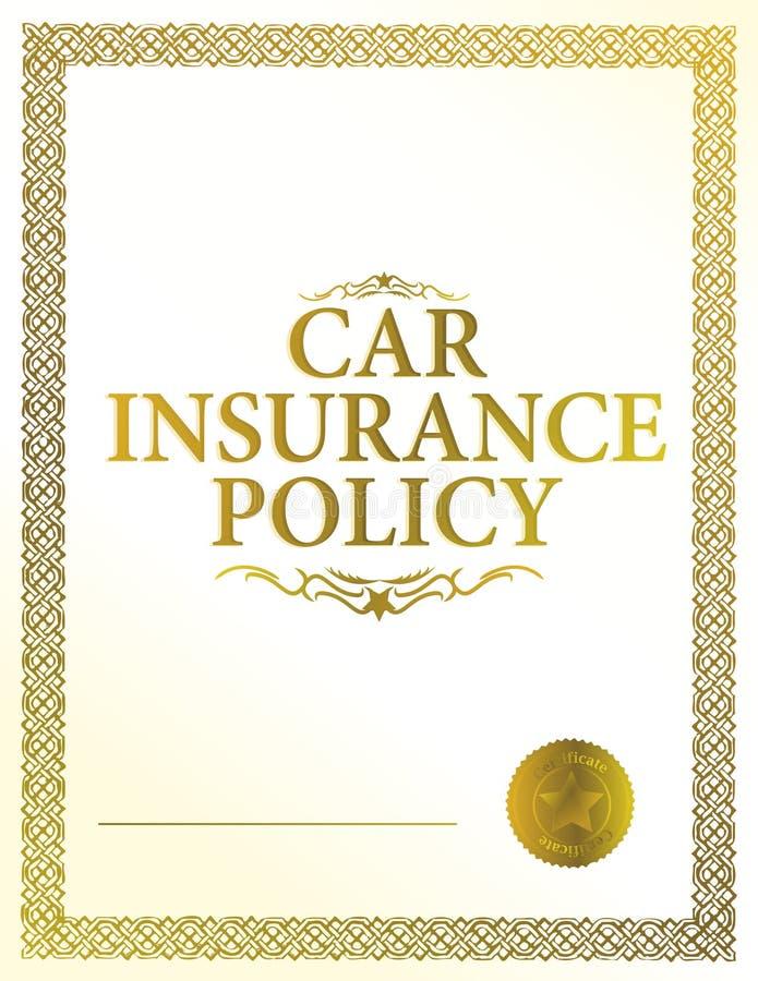 bilförsäkringpolitik royaltyfri illustrationer