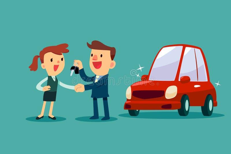 Bilförsäljaren ger en handskakning och en ny biltangent till affärskvinnan royaltyfri illustrationer