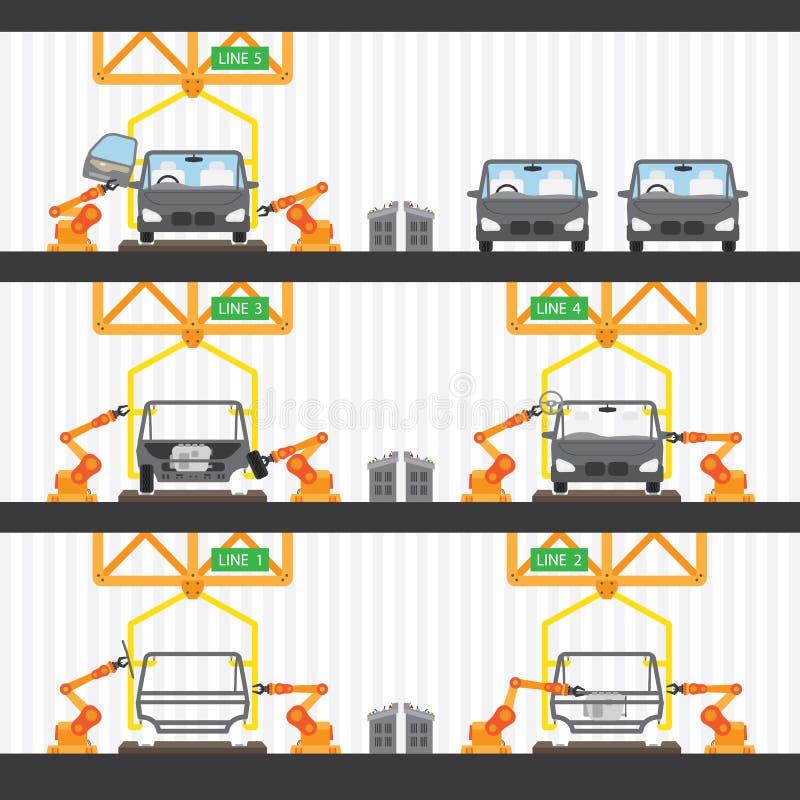 Bilfabrik stock illustrationer