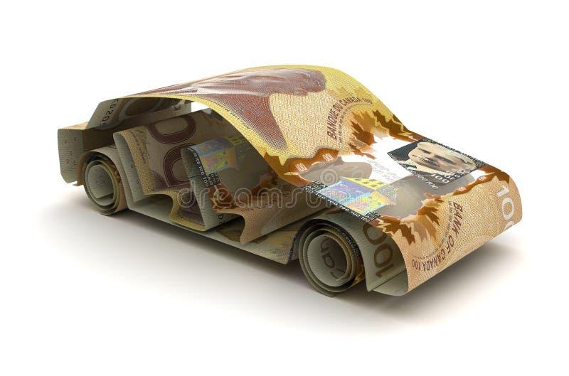 Bilfinans med den kanadensiska dollaren royaltyfri illustrationer