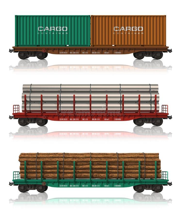 bilfraktar reser med tåg seten royaltyfri illustrationer