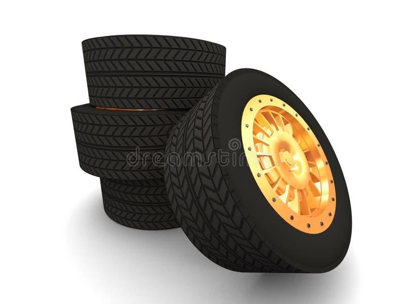 bilgummihjul vektor illustrationer