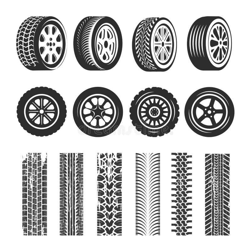 Bilgummihjul och spårspårvektorn isolerade symboler av gummihjulet vektor illustrationer