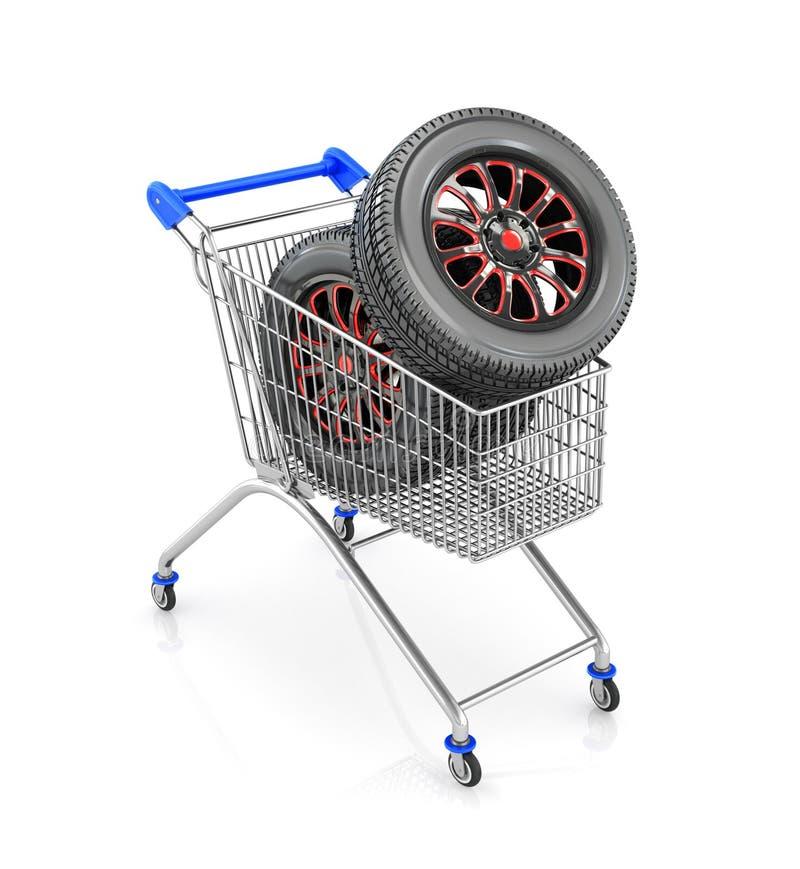Bilgummihjulen i shoppingvagn stock illustrationer
