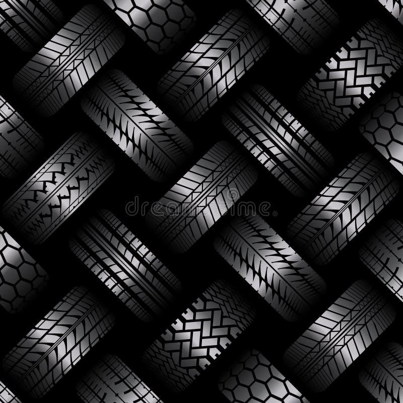 Bilgummihjulet spårar mörk bakgrund stock illustrationer