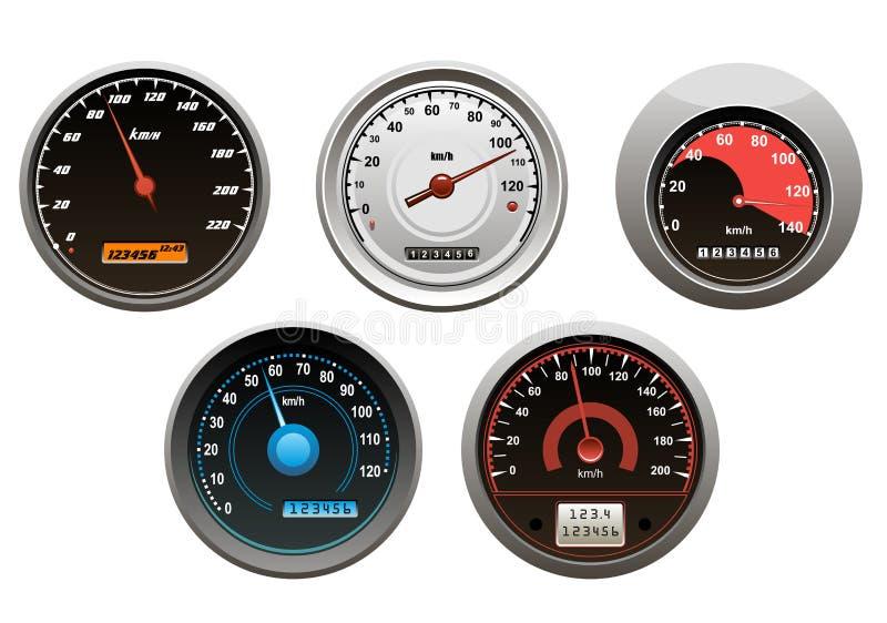 Bilhastighetsmätareuppsättning stock illustrationer