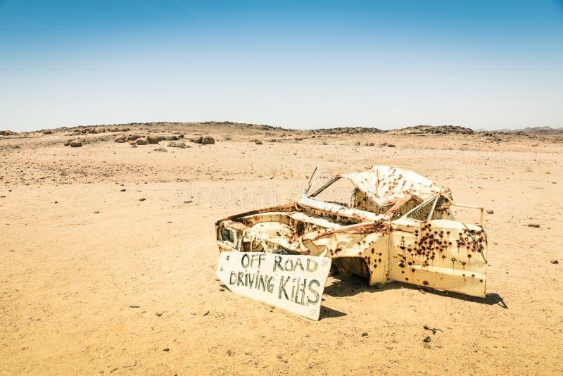 Bilhaveri i namibian öken royaltyfri foto