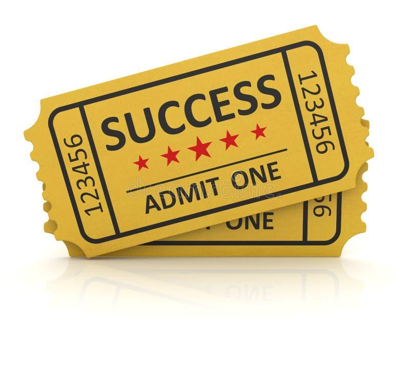 Bilhete amarelo do sucesso ilustração royalty free
