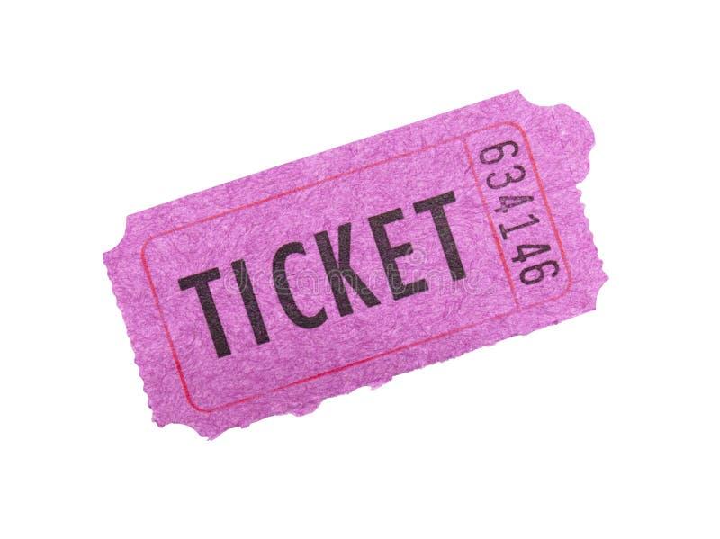 Bilhete cor-de-rosa no fundo branco. foto de stock royalty free