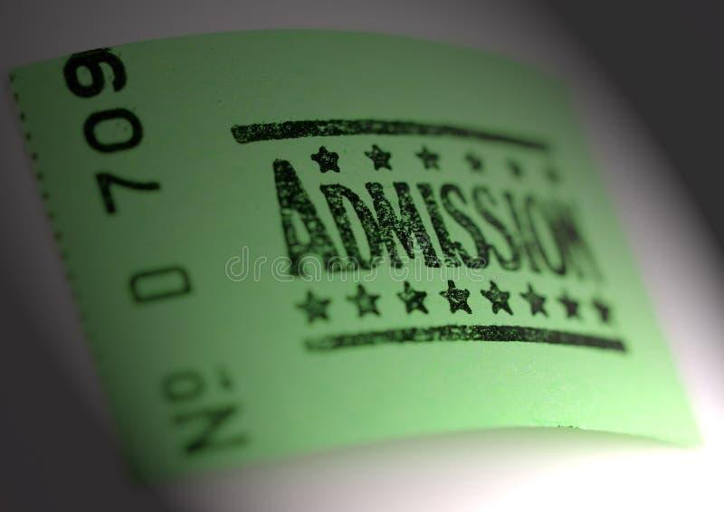 Bilhete da admissão imagens de stock