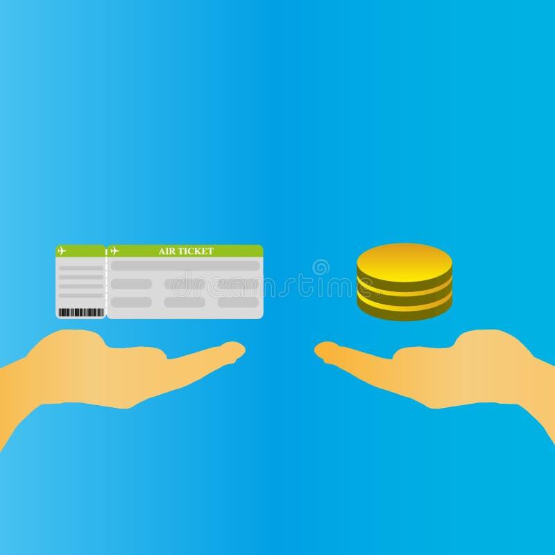 Bilhete de compra para o conceito do dinheiro Mão que guardam bilhetes e uma outra mão que guarda contas de dinheiro ilustração do vetor