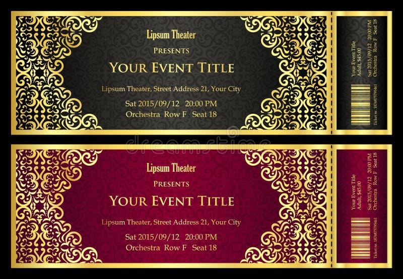 Bilhete de teatro preto e vermelho luxuoso com teste padrão dourado do vintage ilustração royalty free