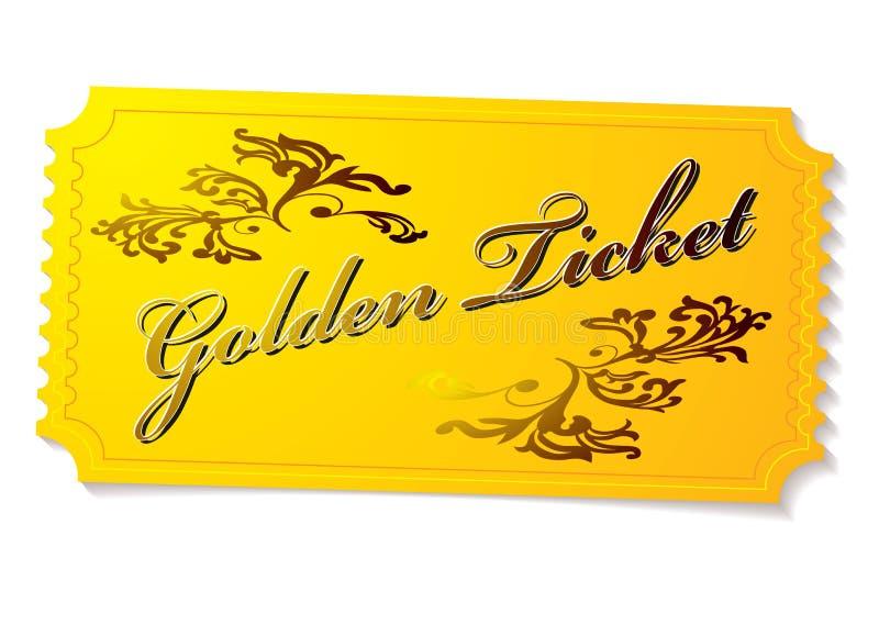 Bilhete de vencimento dourado ilustração royalty free
