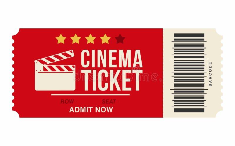 Bilhete do cinema isolado no fundo branco Molde realístico do bilhete do cinema ou do filme ilustração do vetor