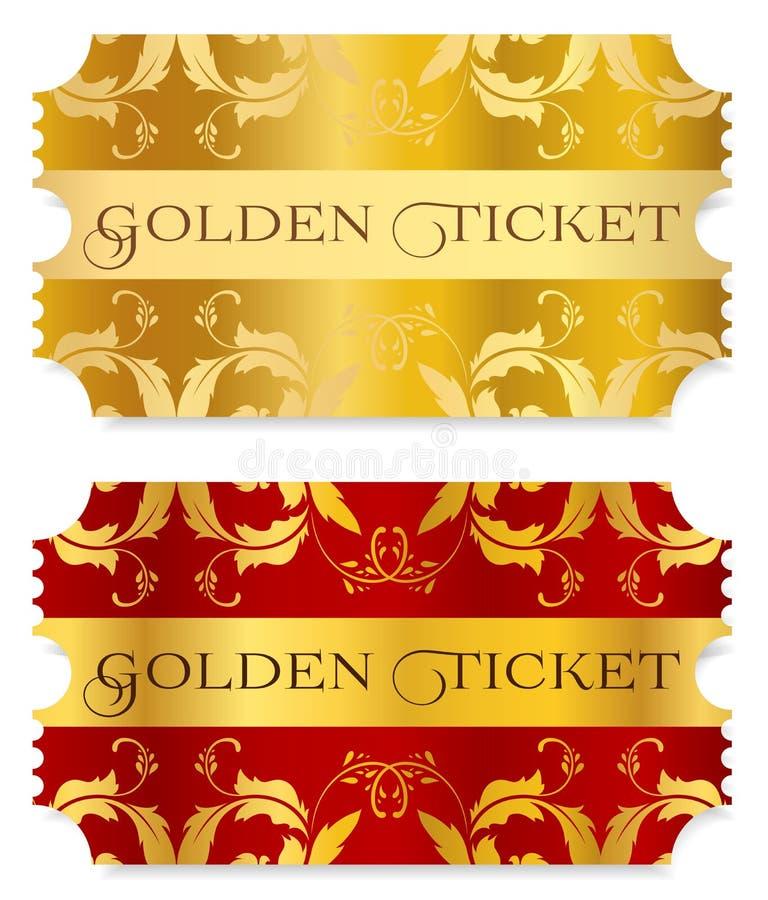 Bilhete do ouro, símbolo dourado & x28; bilhete do rasgo-fora, coupon& x29; isolado no fundo branco ilustração stock