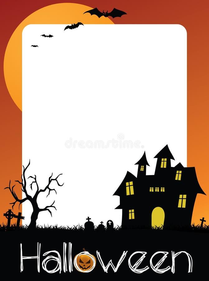 Bilhete do partido de Dia das Bruxas, quadro da foto ou cartão ilustração stock
