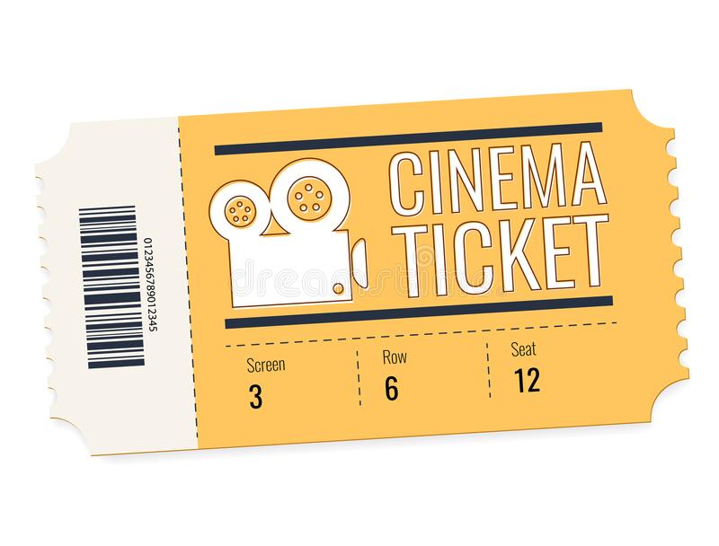 Bilhete do vetor do cinema isolado no fundo branco Ilustração realística da vista dianteira Cartão do bilhete do cinema ilustração royalty free