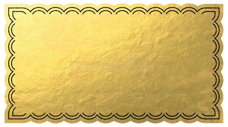 Bilhete dourado ilustração royalty free