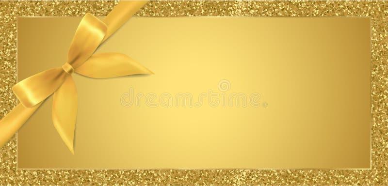 Bilhete dourado, comprovante de presente, vale-oferta com fundo do quadro do brilho da faísca e fita da curva do ouro ilustração royalty free