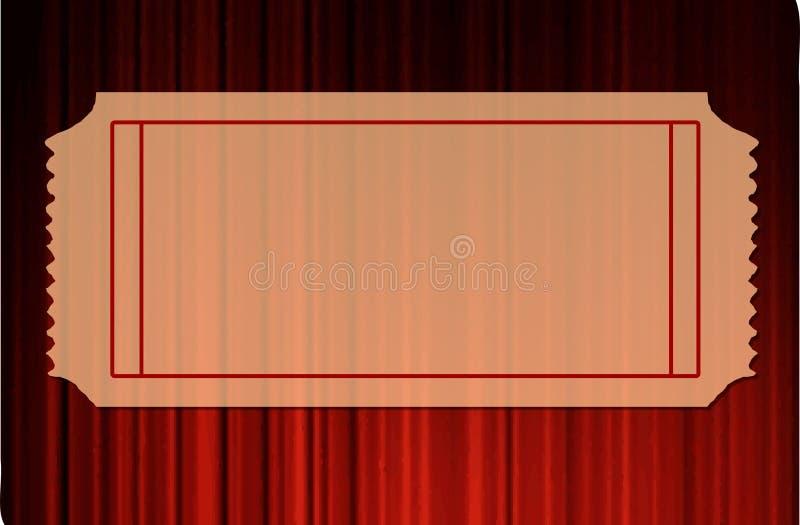 Bilhete em branco sobre cortinas vermelhas ilustração stock