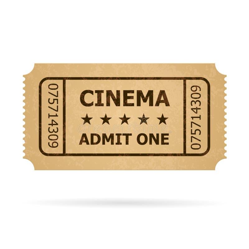 Bilhete retro do cinema ilustração royalty free