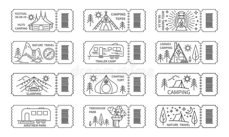 Bilhetes ajustados com o código de barras para excursões do curso da natureza ilustração royalty free