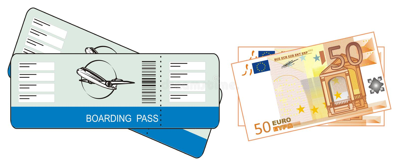 Bilhetes com dinheiro ilustração do vetor