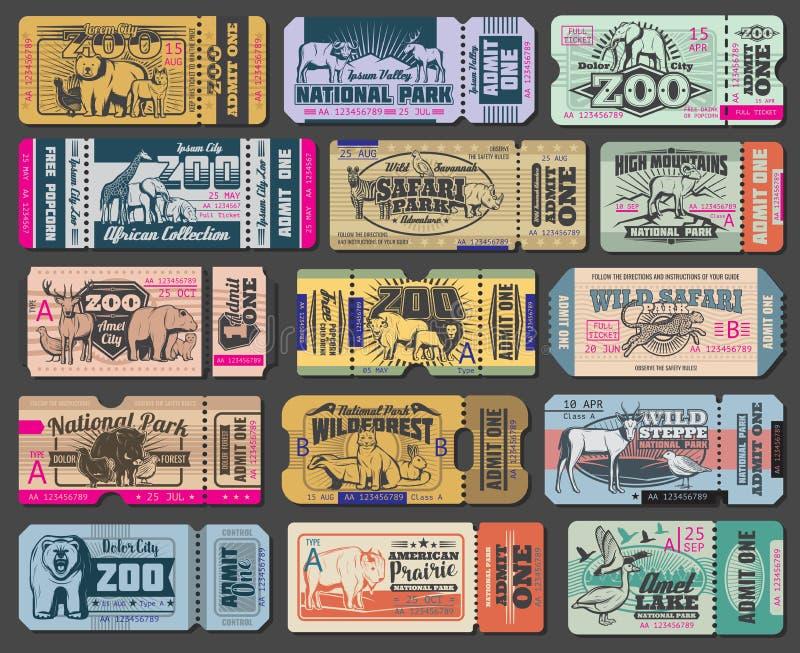 Bilhetes da entrada do vetor dos animais selvagens do parque do jardim zoológico ilustração royalty free