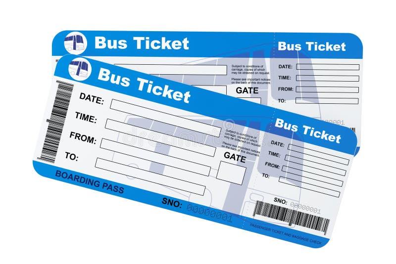Bilhetes da passagem de embarque do ônibus ilustração stock