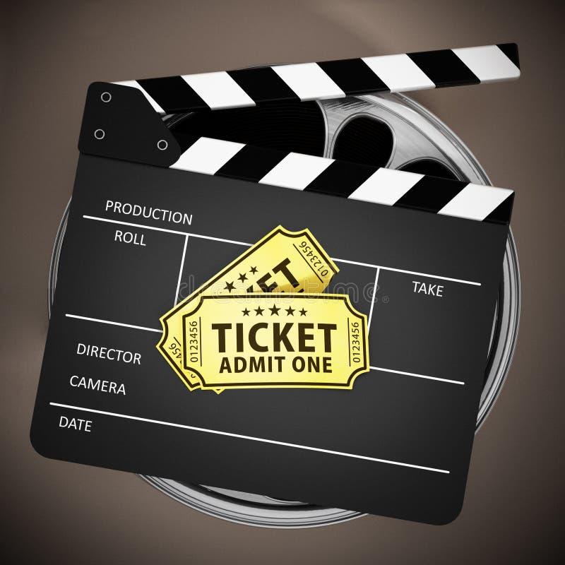 Bilhetes da ripa e do cinema em carretéis de filme ilustração 3D ilustração stock