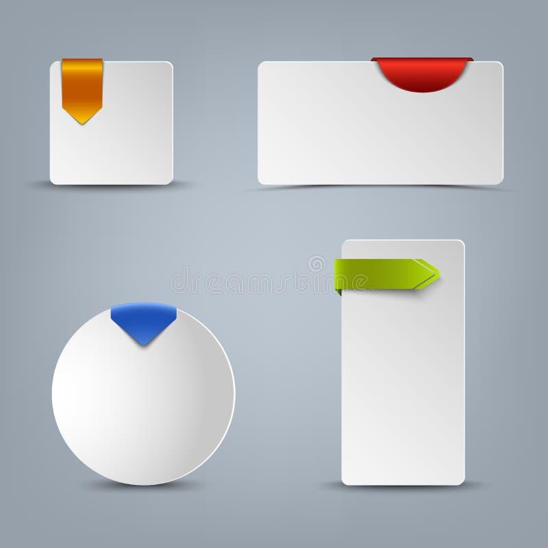 Bilhetes da Web com molde colorido das fitas ilustração stock
