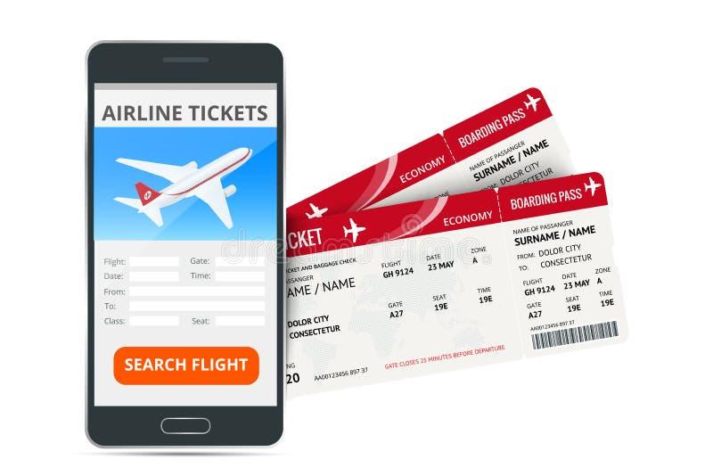 Bilhetes de avião que registram o telefone em linha do app e as duas passagens de embarque Conceito do curso, da viagem ou do neg ilustração royalty free