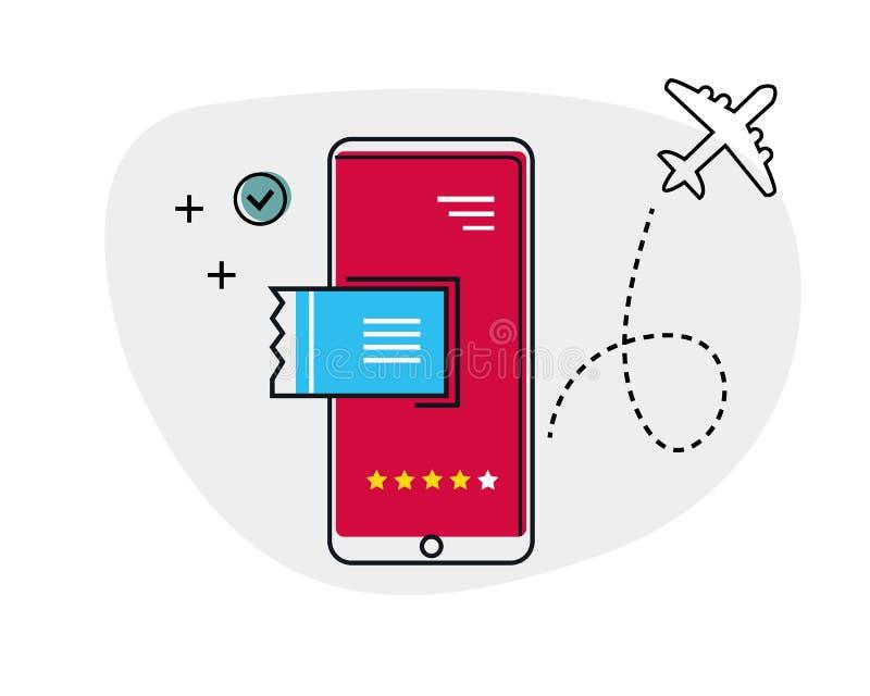 Bilhetes de compra conceito em linha, comércio eletrônico, compra em linha no Internet com um smartphone Bilhetes de avião, bilhe imagem de stock royalty free