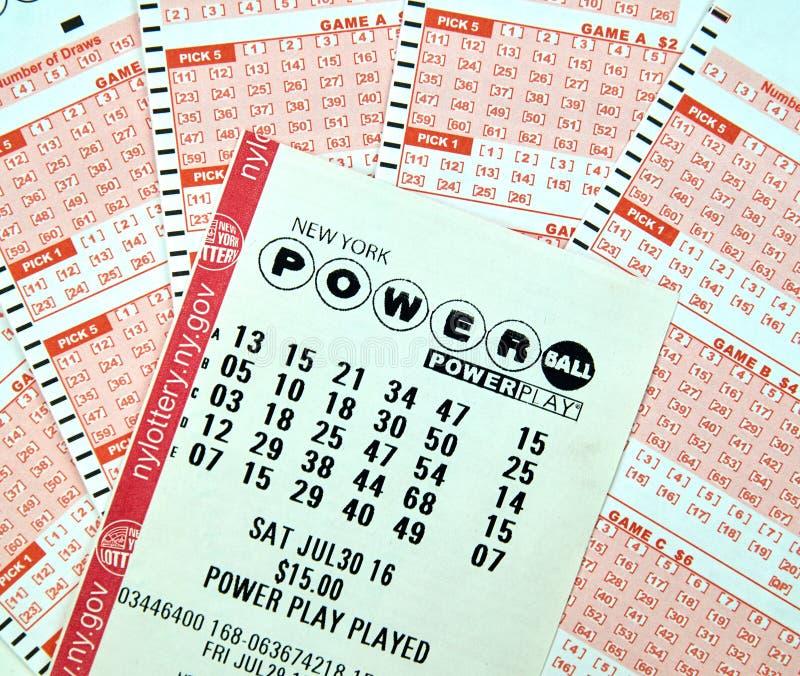 Bilhetes de loteria de Powerball fotografia de stock
