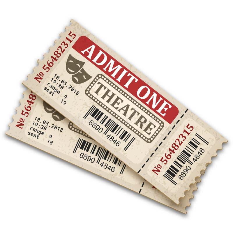 Bilhetes de teatro no estilo retro Bilhetes da admissão isolados no fundo branco ilustração stock