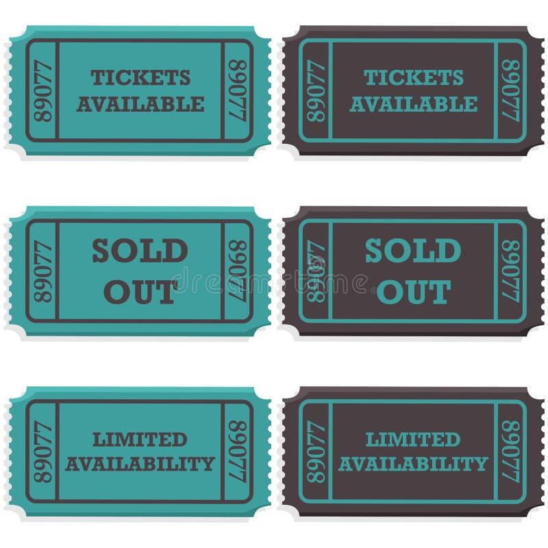 Bilhetes disponíveis e vendidos para fora ilustração do vetor