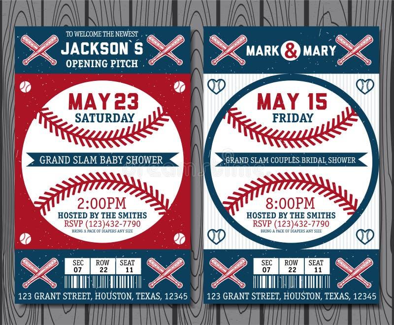 Bilhetes do basebol ilustração stock
